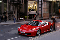 London Ferrari (david.bank (www.david-bank.com)) Tags: uk red england woman money building london car architecture rich ferrari richard rogers luxury lloyds broker lloydsoflondon cityboy investmentbanker leadenhallstreet creditcrunch
