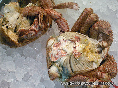 Live hairy crabs - ripped open