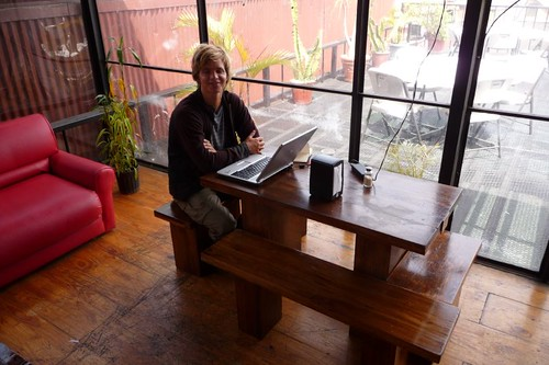 "At my ""lappie office"" in Pangea Hostal..."