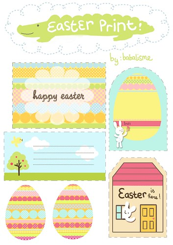 Babalisme easter gift tags printables is here earlier my so called easter craft plans including some easter rabbit puppets easter paper game and easter build up paper diorama hello big dreamer negle