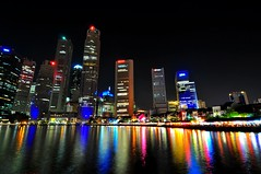 April Fool's Night (Trim Reaper) Tags: city night buildings reflections river lights evening boat nikon singapore colorful shots quay tokina skycrapers 116 d90 1116mm