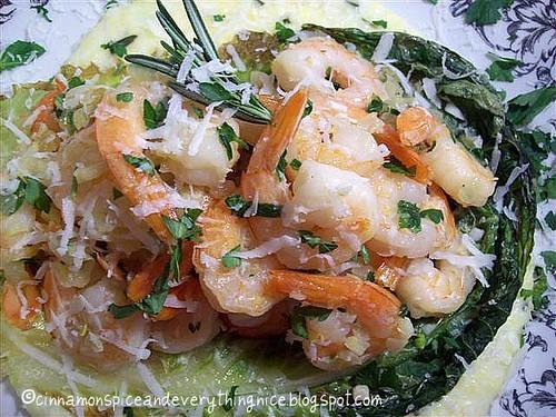 Lemon-Garlic Shrimp w/ Parmesan Polenta & Grilled Romaine