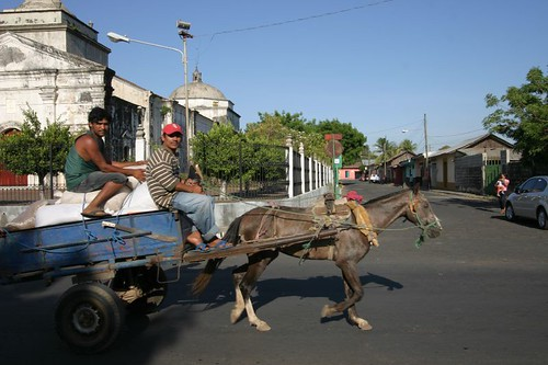 Horse-drawn carriage in León, Nicaragua.
