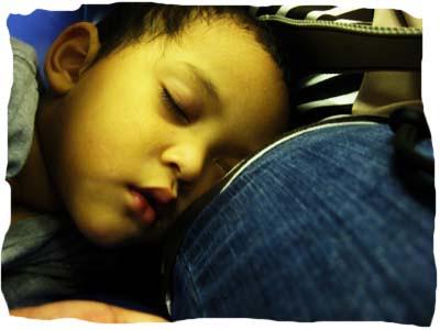 sleeping on mommys lap