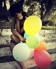 RainboWMemorieS (RainboWMemories) Tags: portrait girl female balloons rainbow colours sunflare