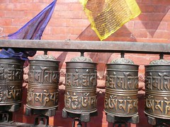 Swayambhunath, Katmandu, Nepal (balavenise) Tags: nepal shrine god buddha prayer religion buddhism prayerwheel katmandu swayambhunath prière devnagari स्वयम्भूनाथस्तुप moulinsàprière flickrgiants