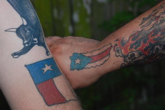 texas flag tattoo and Puerto rico flag tattoo