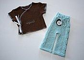 'Organic' Set - cabled longies & embroidered wrap shirt - newborn