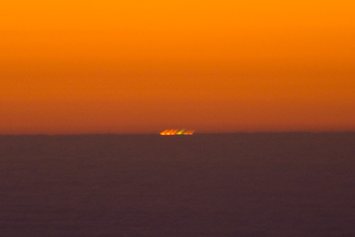 green flash from a plane over Spain