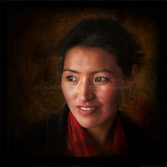 The Memory of Beauty (designldg) Tags: china portrait people woman india beauty smile emotion expression buddhist atmosphere buddhism panasonic soul tibetan allegory leh chiaroscuro dignity freetibet ladakh clairobscur femininity  indiasong dmcfz18