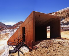 Bisbee - Lavender pit (Ben Lepley +_+) Tags: red arizona abandoned 120 6x6 mediumformat dark concrete iron mine fuji desert pentax steel entrance scan velvia walkway works dodge overexposed fujifilm 100 asa 6x7 fe douglas bisbee corp provia 67 phelps shaft superfund oxide 100f tiltshift reduction pentax6x7 pentax67 meduimformat cochisecounty lavenderpit pentax676x7 shiftlense