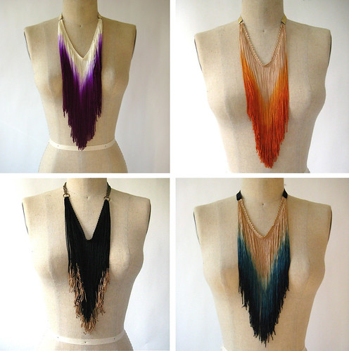 Dip Dyed Fringe Necklaces - by Three Horses