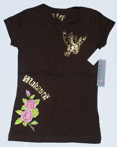 Women's Chocolate Gold Leaf & Studs T-Shirt By MAKAVELI Retail $44 For Sale $22