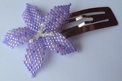 Purple Flower Barrette (fivefootfury) Tags: hair petals clip accessories beaded purpleflower barrette hairclip palepurple beadweaving beadedflowers flowerbarrette ebwteam
