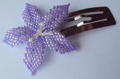 Purple Flower Barrette (fivefootfury) Tags: hair petals clip accessories beaded purpleflower barrette hairclip palepurple beadweaving beadedflowers flowerbarrette ebwteam