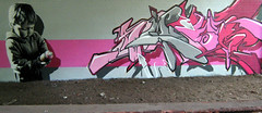 Glasgow (SmugOne) Tags: street uk pink boy urban baby art monochrome wall youth real gold grey graffiti scotland photo 3d toddler mural montana paint artist action unitedkingdom glasgow character tag letters picture scottish style can smug spray letter hiphop spraypaint hip hop graff aerosol tagging aerosolart spraycan realism drains realistic photorealistic photorealism aod montanagold teamalosta alosta smugone