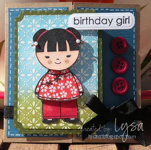 Cute girl- gatefold card