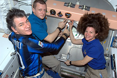 Putting our patch on station. Expedition 27 is done! (magisstra) Tags: nasa astronauts iss esa cadycoleman internationalspacestation earthfromspace europeanspaceagency paolonespoli expedition27 magisstra dmitrykondratyev