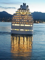 Reflections 0f  West Vancouver (Mr. Happy Face - Peace :)) Tags: ocean cruise light vacation sky canada reflection art love vancouver reflections ship peace bc harbour illuminations expressions waters bluehour sunrisesunset relationships flickrfriends worldpeace foodforthought jimmyb mrshappyface