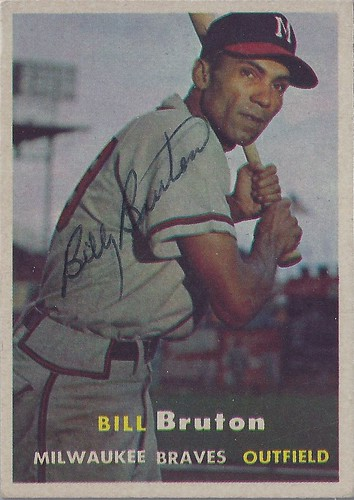 1957 Topps - Bill Bruton #48 (Outfielder) (b: 9 Nov 1925 - d: 5 Dec 1995 at age 70) - Autographed Baseball Card (Milwaukee Braves)