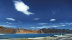 Panoramic view of Lake Pangong !! (Lopamudra !) Tags: blue sky india mountain lake mountains cold color colour water beauty clouds landscape colours plateau turquoise karakoram loch himalaya himalayas jk ladakh highaltitude waterscape pangong lopamudra lopamudrabarman