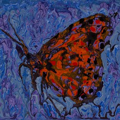 Hanging on in the rain - Abstract Poured Painting (lanes.paul120) Tags: abstractseascape abstractbutterflies abstractpouredpainting abstractpouredpaintings