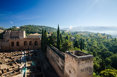 the alhambra (aubreyrose) Tags: travel vacation holiday spain europe view alhambra granada alcazaba lensflair viewfromthetop