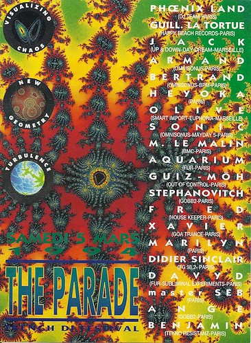 "Patrice Heyoka - Flyer 05/03/1994 - ""The Parade"" (Paris) <a style=""margin-left:10px; font-size:0.8em;"" href=""http://www.flickr.com/photos/110110699@N03/11308097674/"" target=""_blank"">@flickr</a>"