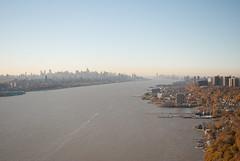 George Washington Bridge (jc1305us) Tags: nyc bridge autumn tower fall skyscraper newjersey haze nikon jerseycity manhattan hudsonriver empirestatebuilding gwb fortlee palisades portauthority panynj d3000