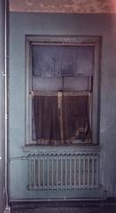 Blue Window (CityOfDave) Tags: nyc newyorkcity abandoned dorm urbanexploration dormitory rooseveltisland abandonedbuilding welfareisland centralnursesresidence