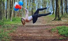Balloons (polka-dot-dolly) Tags: blue red white girl forest balloons woods floating levitation skirt blonde vans float magical mystic goodwood chichester