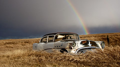 Road to Oz (Flint Roads) Tags: old usa sunlight storm abandoned field grass car rain weather clouds rural washington buick rainbow rust shadows decay faded vehicle wa lonely forsaken reardan