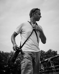 """Waiting on a train"" (D A Baker) Tags: selfportrait self portrait black white bnw bw photograph photographer nikon d610 80200mm fujifilm fuji x100s summer hot train indiana"
