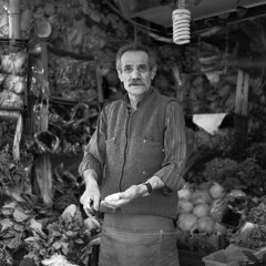 greengrocer (OlaAlexandrova) Tags: portrait people bw man men 6x6 turkey istanbul bronica medium format sqa