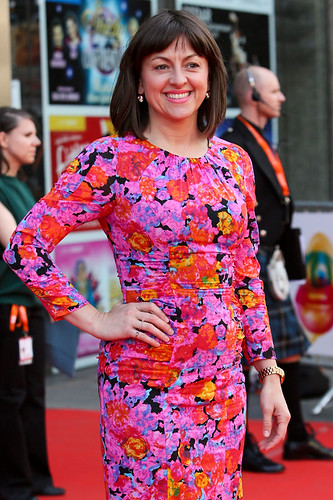 Jo Hartley arriving on the red carpet for Breathe In at the Festival Theatre