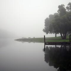 Morning Fog (kristophoenix) Tags: morning trees light cloud white mist lake color reflection tree green water rain misty fog clouds 35mm illinois am dock pond nikon day foggy peaceful calm il serene eureka d5100