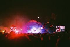 (KatherineMitchell) Tags: summer people music festival lights audience crowd glastonbury somerset flags pyramidstage pilton arcticmonkeys