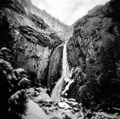into the solstice (Super G) Tags: blackandwhite bw 120 film ice waterfall yosemitenationalpark loweryosemitefalls selfdeveloped holga120n filmforfriday d7695mins68d11