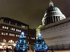 First night in London (erintheredmc) Tags: thanksgiving christmas travel blue trees england holiday london tourism saint st thames night river lights europe european fuji cathedral erin walk united kingdom pauls tourist adventure finepix shard mccormack f550exr uploaded:by=flickrmobile flickriosapp:filter=nofilter