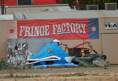 Fringe Factory (mikecogh) Tags: banner shed posters curious prop tanks adelaidefringe