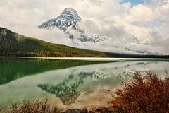Mount Chephren in the Clouds (Jeff Clow) Tags: albertacanada waterfowllake mountchephren ©jeffrclow jeffclowphototours