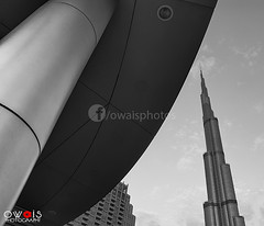 (OwaisPhotography (www.facebook.com/owaisphotos)) Tags: blackandwhite bw building architecture skyscraper nikon dubai artistic uae creative coolpix bnw burj dxb tallest p80 buildingexterior builtstructure burjkhalifa owaisphotography gettyimagespakistanq12012 gettyimagesmiddleeast