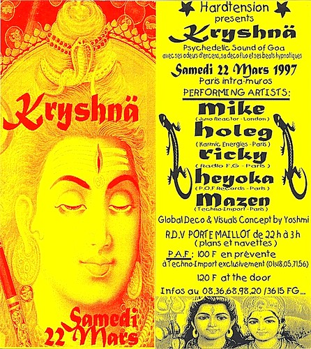"Patrice Heyoka - Flyer 22/03/1997 - HardTension ""Krishna"" (Paris) <a style=""margin-left:10px; font-size:0.8em;"" href=""http://www.flickr.com/photos/110110699@N03/12209279445/"" target=""_blank"">@flickr</a>"