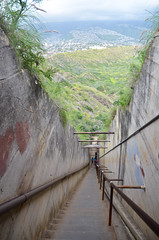 Stairs (malinowy) Tags: trip vacation usa volcano hawaii us nikon holidays unitedstates oahu hike trail crater caldera diamondhead honolulu nikkor hnl 1870 wakacje diamondheadcrater hawaiianislands malinowy d7000 malinowynet