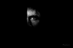 Hiding in the dark (Normann Photography) Tags: portrait people blackandwhite bw monochrome face blackwhite scary mysterious intriguing portrett normannphotography