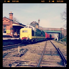D9016 Gordon Highlander Opens Up Through Quorn & Woodhouse (John Hague) Tags: square nashville diesel squareformat gordonhighlander greatcentralrailway deltic gcr dieselelectric tpo travellingpostoffice d9016 55016 iphoneography instagramapp