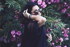 (mmarianaxo) Tags: pink flowers black green girl leaves sunglasses shorthair retouch bushes kriss edit sheer