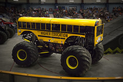 Beast (Bailey Parsons) Tags: school canada bus yellow photoshop truck canon newfoundland photography eos raw photographer stadium tripod wideangle tires landing indoors event nl schoolbus fullframe dslr motocross mx jumps photographing nfld monstertruck wheelie horsepower destroy pepsicenter croud monsterjam atlanticcanada highereducation 2015 cs6 photogr newfoundlandlabrador westcoastnewfoundland pepsicentre monsterspectacular canon6d parsonsphotography visitnl