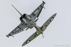 Typhoon Spitfire Synchro Pair (DrAnthony88) Tags: aircraft royalairforce raffairford nikond810 modernmilitary nikkor200400f4gvrii royalinternationalairtattoo2015 riat2015
