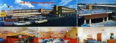 Orbit Inn Motel and Restaurant Las Vegas NV (Edge and corner wear) Tags: las vegas two sky cars pool sign swimming vintage hotel pc tv high inn neon room postcard parking lot free motel panoramic best lodge chrome sphere western dining hi motor elevated rotating tone orbiting